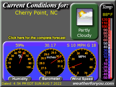Latest CHERRY POINT, North Carolina, weather conditions and forecast