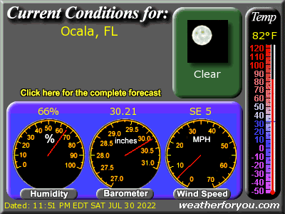 Latest Ocala, Florida, weather conditions and forecast