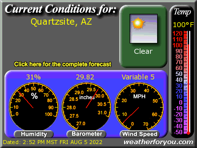 Latest Quartzsite, Arizona, weather conditions and forecast