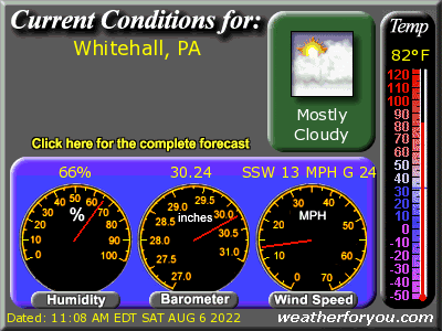 Latest Whitehall, Pennsylvania, weather conditions and forecast