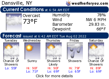 Latest Dansville, New York, weather conditions and forecast