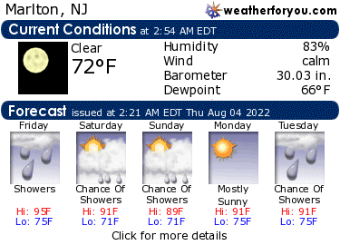 Latest Marlton, New Jersey, weather conditions and forecast