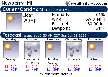 Latest Newberry, Michigan, weather conditions and forecast