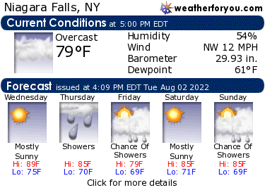 Latest Niagara Falls, New York, weather conditions and forecast