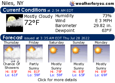 Latest Niles, New York, weather conditions and forecast