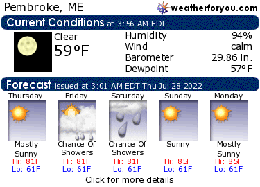 Latest Pembroke, Maine, weather conditions and forecast