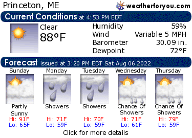 Latest Princeton, Maine, weather conditions and forecast