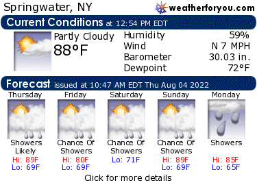 Latest Springwater, New York, weather conditions and forecast