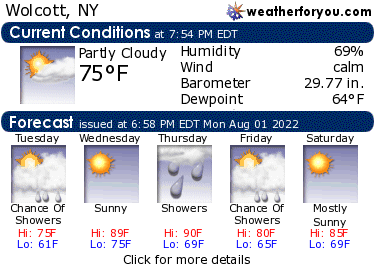 Latest Wolcott, New York, weather conditions and forecast