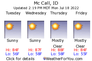 Mc Call, Idaho, weather forecast
