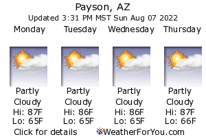Payson, Arizona, weather forecast