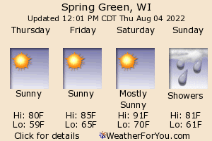 Spring Green, Wisconsin, weather forecast