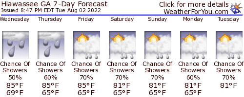 Hiawassee, Georgia, weather forecast