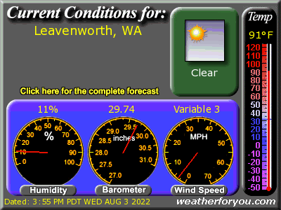 Latest Leavenworth, Washington,  weather conditions and forecast, near Stevens Pass