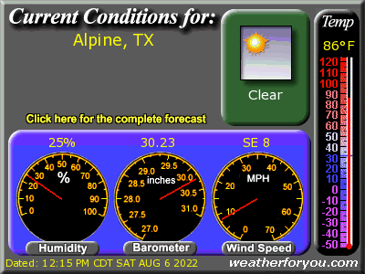 Latest Alpine, Texas, weather conditions and forecast