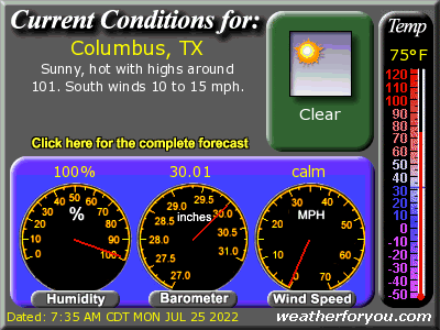 Latest Columbus, Texas, weather conditions and forecast