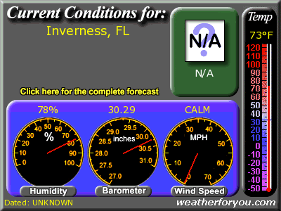 Latest Inverness, Florida, weather conditions and forecast