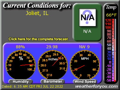 Latest Joliet, Illinois weather conditions and forecast