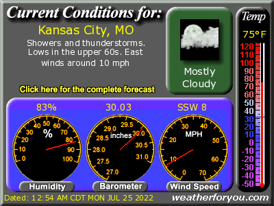 Latest Kansas City, Missouri, weather conditions and forecast