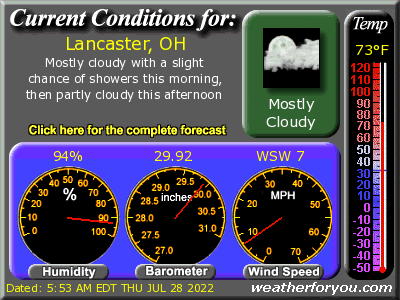 Latest Lancaster, Ohio, weather conditions and forecast