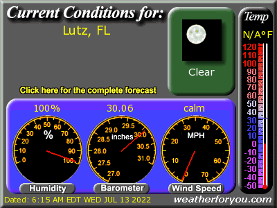 Latest Lutz, Florida, weather conditions and forecast