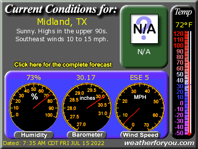 Latest Midland, Texas, weather conditions and forecast