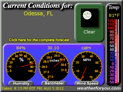 Latest Odessa, Florida, weather conditions and forecast