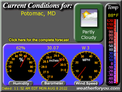 Latest Potomac, Maryland, weather conditions and forecast