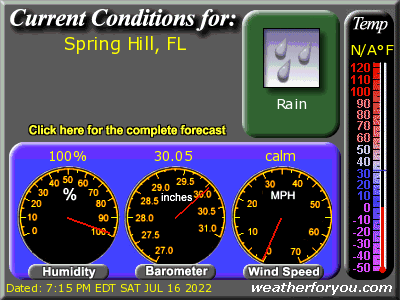 Latest Spring Hill, Florida, weather conditions and forecast