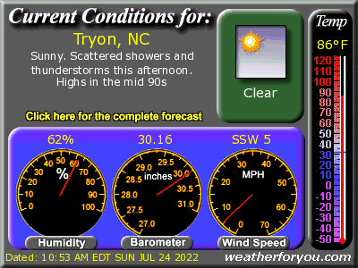 Latest Tryon, North Carolina, weather conditions and forecast