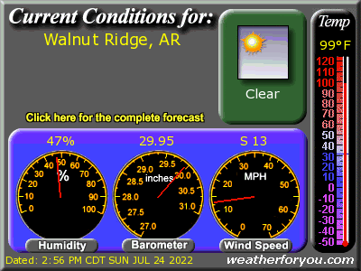 Latest Walnut Ridge, Arkansas, weather conditions and forecast