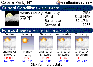 Latest Ozone Park, NY, weather conditions and forecast