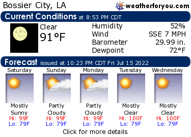 Latest Bossier City, Louisiana, weather conditions and forecast