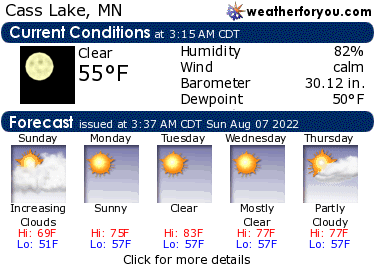 Latest Cass Lake, Minnesota, weather conditions and forecast
