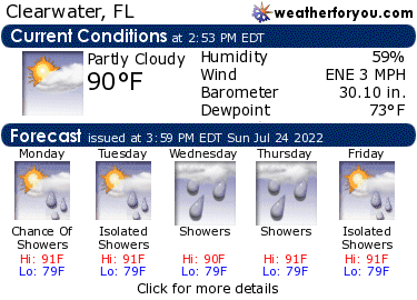 Latest Clearwater, Florida, weather conditions and forecast