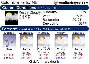 Latest Columbia Falls, Maine, weather conditions and forecast