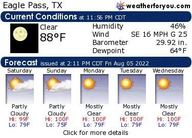 Latest Eagle Pass, Texas, weather conditions and forecast
