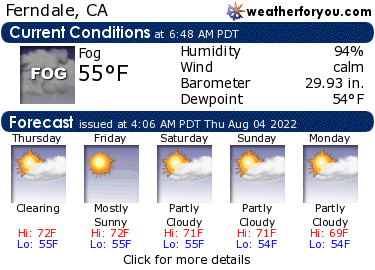 Latest Ferndale, California, weather conditions and forecast