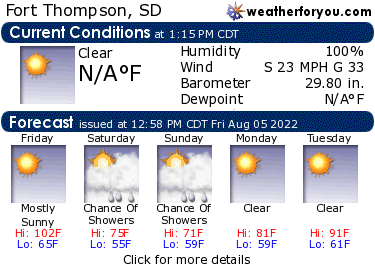 Latest Fort Thompson, South Dakota, weather conditions and forecast