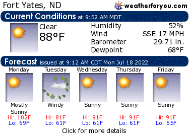Latest Fort Yates, North Dakota, weather conditions and forecast