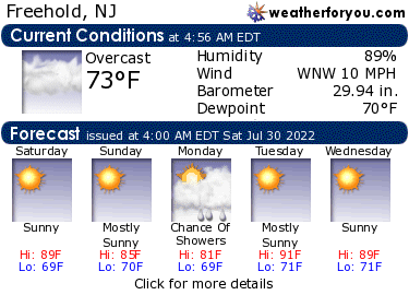 Latest Freehold, New Jersey, weather conditions and forecast
