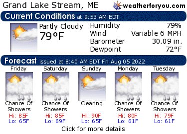 Latest Grand Lake Stream, Maine, weather conditions and forecast