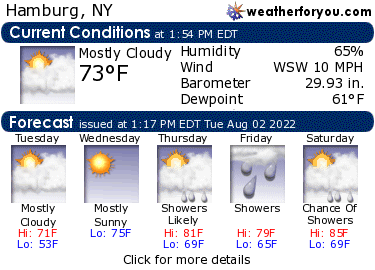 Latest Hamburg, New York, weather conditions and forecast