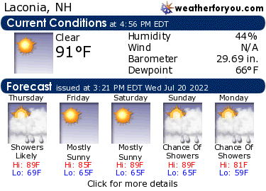 Latest Laconia, New Hampshire, weather conditions and forecast