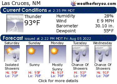 Latest Las Cruces, New Mexico, weather conditions and forecast