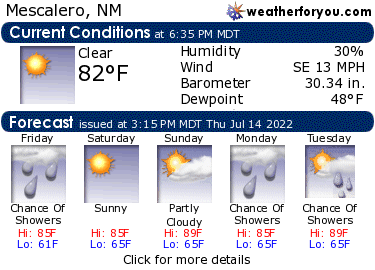 Latest Mescalero, New Mexico, weather conditions and forecast