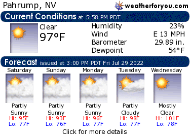 Latest Pahrump, Nevada, weather conditions and forecast