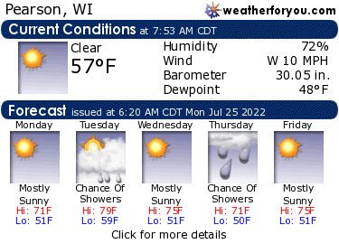 Latest Pearson, Wisconsin, weather conditions and forecast