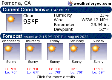 Latest Pomona, California, weather conditions and forecast