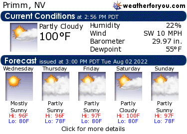 Latest Primm, Nevada, weather conditions and forecast